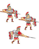 Roman Soldier Attack Animation Sprite — Stock Vector