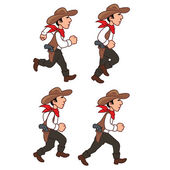 Running Cowboy Sprite — Stock Vector