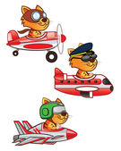 Cat Pilot — Stock Vector