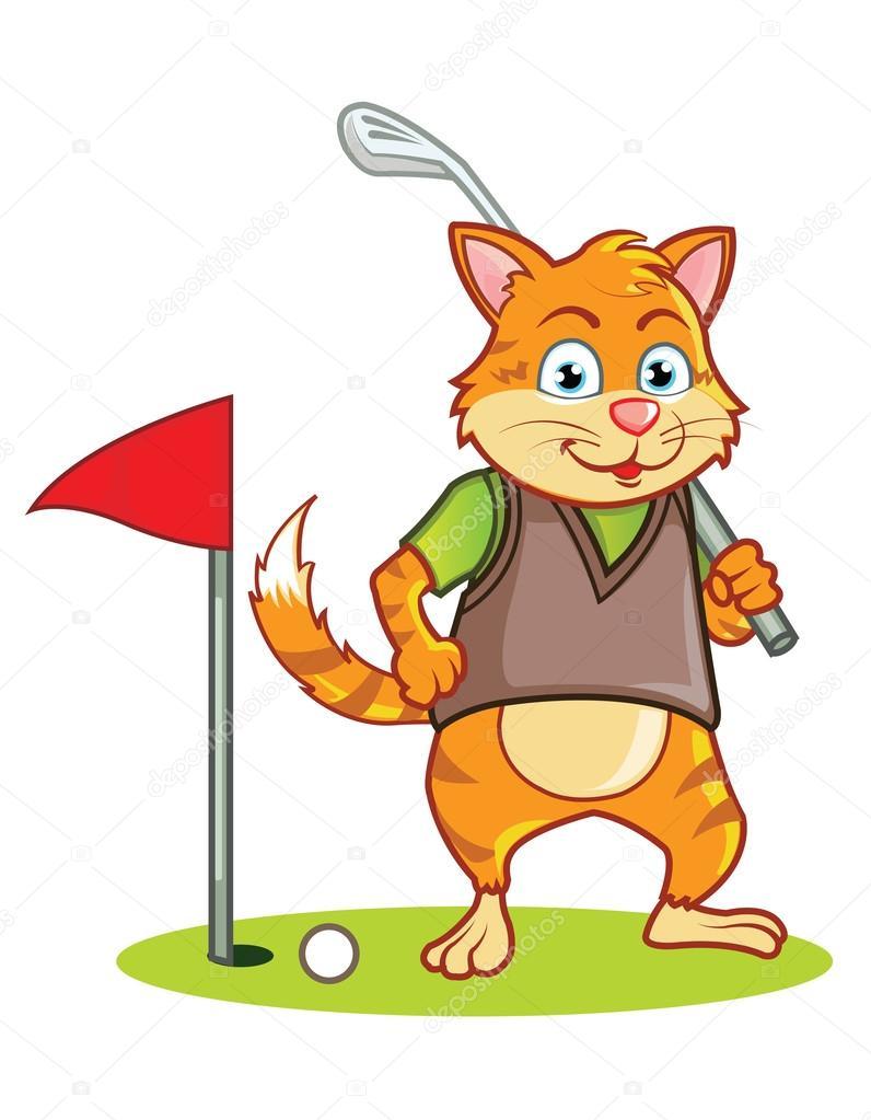 Cartone animato del gatto golf — vettoriali stock gagu