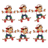 Skater Boy Jumping High Animation Sprite for Game — Stock Vector