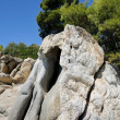 Stock Photo: Big rock on beach, greece, halkidiki, sithonia