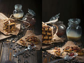 Peanut cookies and chocolate drops — Stock Photo
