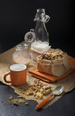 Breakfast with milk and peanut cookies — Stock Photo