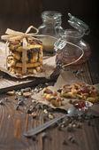 Lot of peanut cookies — Stock Photo