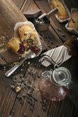 Top view of broken cupcake — 图库照片