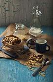 Sweet peanut cookies with milk — Stock Photo