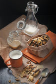 Top view of cookies and milk — Stock Photo