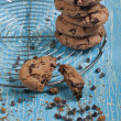 Lot of biscuits with chocolate drops — Stock Photo