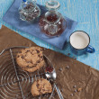 Top view of biscuits with chocolate drops and jam — Stock Photo #16350955