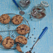 Stock Photo: Top view of biscuits with chocolate drops
