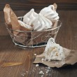 Stock Photo: Broken meringue and meringues in iron plate