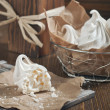 Stock Photo: Meringues in iron bowl