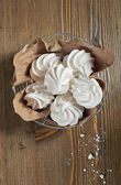 Top view of meringues in iron plate — Stock Photo