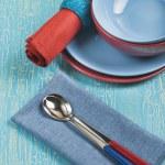 Colored kitchen utensils — Stock Photo