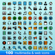 Royalty-Free Stock Vector Image: 100 multimedia and web icons