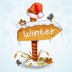 Christmas wooden arrow board — Stock Vector