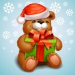 Stock Vector: Christmas teddy bear