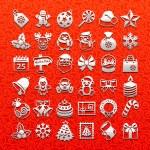 Christmas icons - white set — Stock Vector