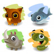 Funny animals-set — Stock vektor