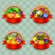 Fruits and vegetables labels set — Stock Vector