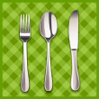 Stock Vector: Knife, spoon and fork