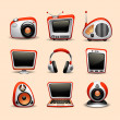 Multimedia icons red color - Stock Vector