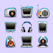 Multimedia icons blue color — Stock Vector