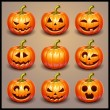 Set pumpkins for Halloween — Stock Vector