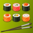 Stock Vector: Sushi set icons