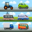 Transport icons on the road — Imagens vectoriais em stock