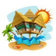 Water bungalow illustration - Stock Vector