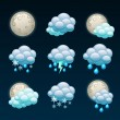 Stock Vector: Weather forecast icons-night
