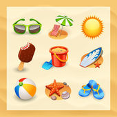 Beach icon set — Stock Vector