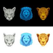 Big cat set-lion, puma, jaguar — Stock Vector