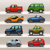 Car icon set — Vector de stock