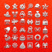Christmas icons - white set — Stock Vector