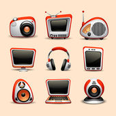 Multimedia icons red color — Stock Vector