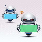 Robot and banner — Stock Vector