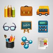 Conjunto de iconos de la escuela — Vector de stock