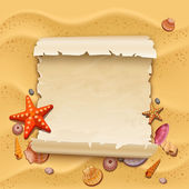 Sea shells with sand as background — Stock Vector