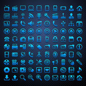 100 vector blue icons — Stock Vector