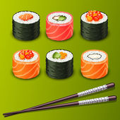 Sushi set icons — Stock Vector