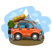 Travel car illustration — Stock Vector