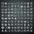 Stock Vector: 100 vector metallic icons
