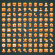 100 vector orange icons - Stock Vector
