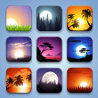 Background for the app icons-Summer landscape set — Stock Vector