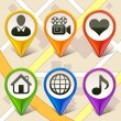 Stockvector : Colorful map markers-set