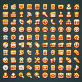 100 vector orange icons — Vetorial Stock