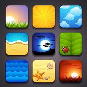 Plano de fundo para a parte de ícones-verão de app — Vetor de Stock